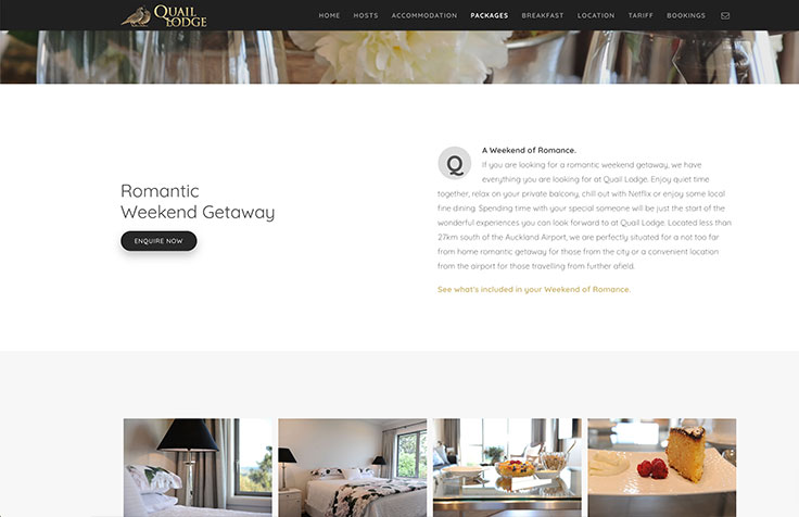 Quail Lodge Auckland web design and photography